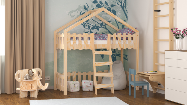 Hochbett für Kinder in Hausform Tessa
