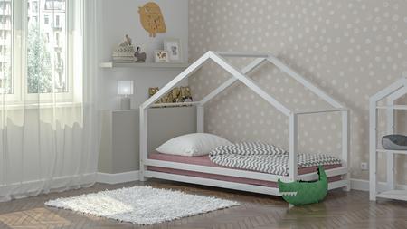 Massivholzbetten, skandinavische Betten, Kinderbett, Einzelbett, Öko-Betten, Betten im skandinavischen Stil, Hausbett, Bett in Hausform,