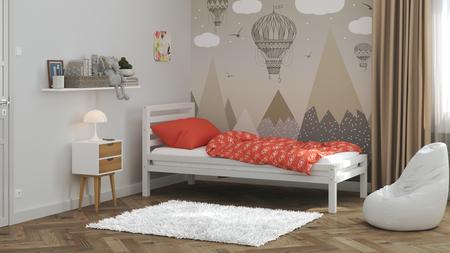 Massivholzbetten, skandinavische Betten, Kinderbett, Einzelbett, Öko-Betten, Betten im skandinavischen Stil, Einzelbett, Kinderbett, Bett für Kinder